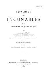 Catalogue des incunables de la Bibliothèque publique de Besançon