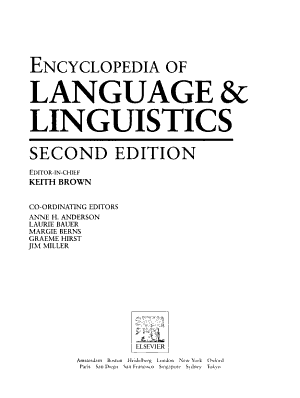 Encyclopedia of Language and Linguistics PDF