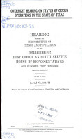 Oversight Hearing on Status of Census Operations in the State of Texas PDF