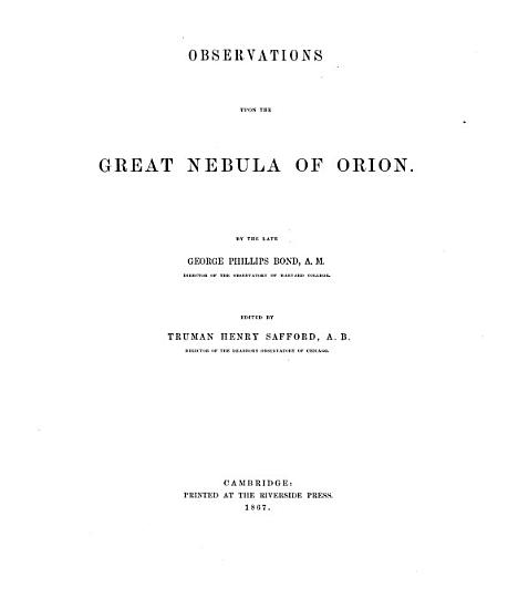 Observations Upon the Great Nebula of Orion PDF