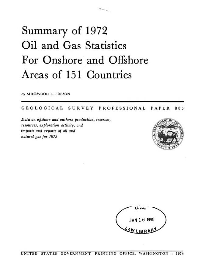 Summary of 1972 Oil and Gas Statistics for Onshore and Offshore Areas of 151 Countries