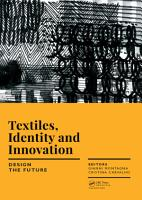 Textiles  Identity and Innovation  Design the Future PDF