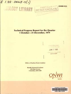 Technical Progress Report for the Quarter     PDF