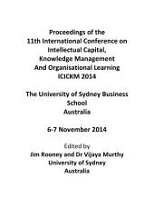ICICKM2014-Proceedings of the 11th International Conference on Intellectual Capital, Knowledge Management and Organisational Learning: ICICKM2014