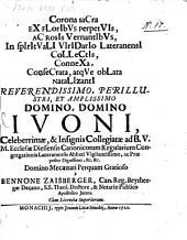 Corona sacra ... consecrata ... Rev, D. Ivoni ... ecclesiae Diessenh. ... abbati
