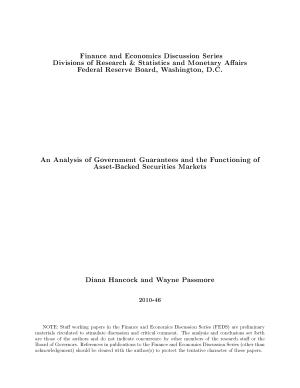 Analysis of Government Guarantees and the Functioning of Asset Backed Securities Markets PDF