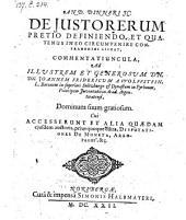 De justo rerum pretio definiendo ... Accesserunt ... Disputationes de moneta, Areopagus (etc.)