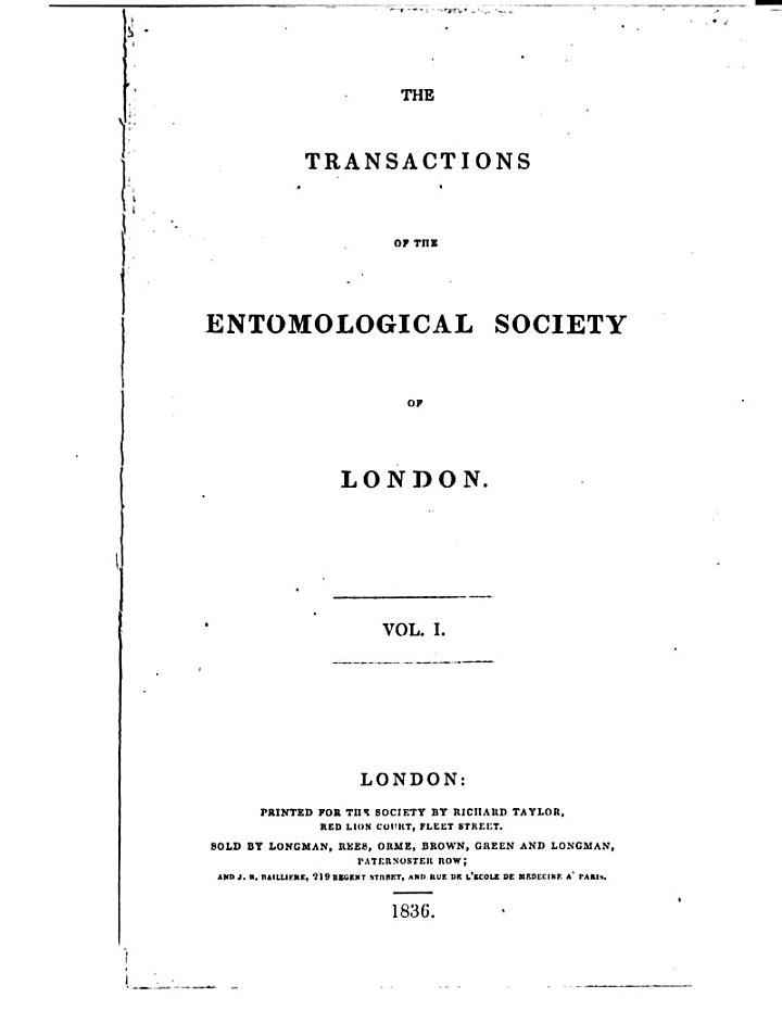 The Transactions of the Entomological Society of London