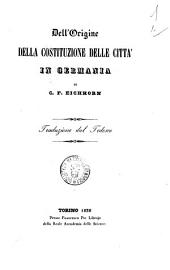 Dell'origine della costituzione delle citta in Germania C. F. Eichhorn