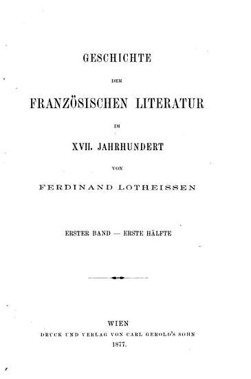 Geschichte der franz  sischen literatur im XVII  jahrhundert  bd  Die zeit des uebergangs  1600 1636 PDF