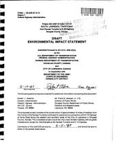 South Lawrence Trafficway Construction, Kansas Turnpike to K-10, Lawrence: Environmental Impact Statement