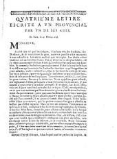 Quatriéme lettre escrite a un provincial par un de ses amis. De Paris le 25. Février 1656