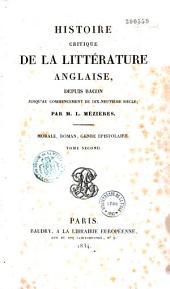 Histoire critique de la littérature anglaise depuis Bacon jusqu'au commencement du XIXe siècle: Volume1