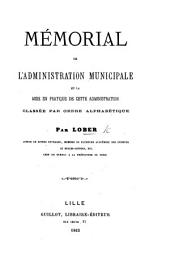 Mémorial de l'Administration municipale, et la mise en pratique de cette administration classée par ordre alphabétique