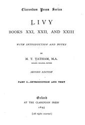 Livy, books XXI, XXII, and XXIII: Volumes 1-2