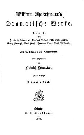 William Shakespeare s dramatische Werke  Antonius und Kleopatra PDF