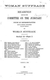 Women Suffrage: Hearings on Woman Suffrage, March 3, 1914