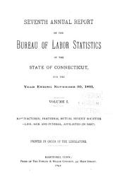 Annual Report of the Bureau of Labor Statistics, of the State of Connecticut: Part 1