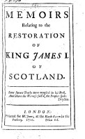 Memoirs Relating to the Restoration of King James I of Scotland PDF