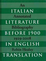 Italian Literature Before 1900 in English Translation PDF