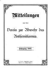Mitteilungen aus dem Verein zur Abwehr des Antisemitismus: Band 15