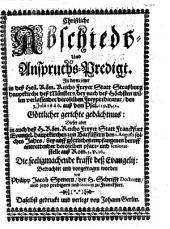 Christliche Abschieds- und Anspruchs-Predigt über Ps. 119,52 und Roem. 1,16