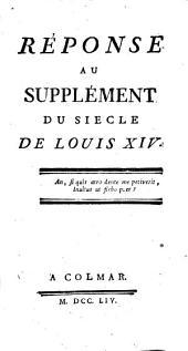 Réponse au Supplément du Siècle de Louis XIV