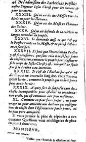Réponse à la lettre de M. de La Barre en laquelle est réfutée clairement ce qu'on objecte touchant l'admission des Luthériens à notre communion