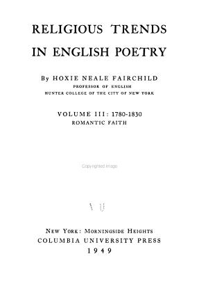 Religious Trends in English Poetry  1780 1830  Romantic faith PDF
