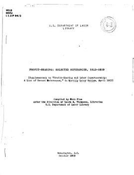 Profit sharing  Selected References 1923 1939 PDF