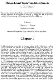 Modern Literal Torah Translation: Genesis