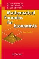 Mathematical Formulas for Economists PDF