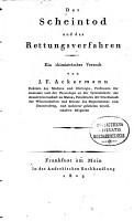 Der Scheintod und das Rettungsverfahren PDF