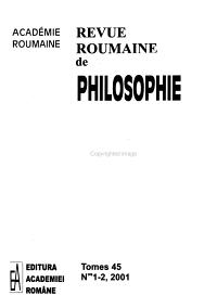 Revue roumaine de philosophie PDF