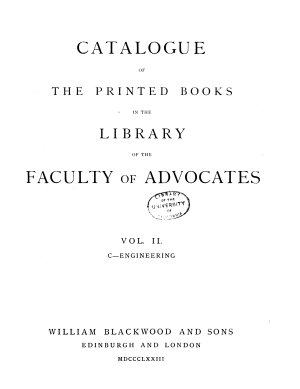 Catalogue of the Printed Books in the Library of the Faculty of Advocates  C Engineering  1873