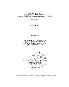 Implementation of Federal Highway Administration Construction Engineering Management System PDF