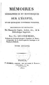 Mémoires géographiques et historiques sur l'Égypte: Volume2