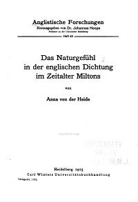 Das Naturgef  hl in der englischen Dichtung im Zeitalter Miltons PDF