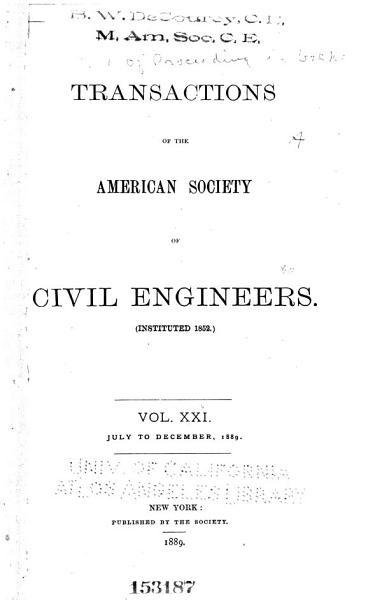 Download Transactions of the American Society of Civil Engineers Book