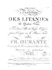 Partition des litanies à quatre voix, 2 violons, alto et basse chiffré pour l'orgue ou le piano-forte