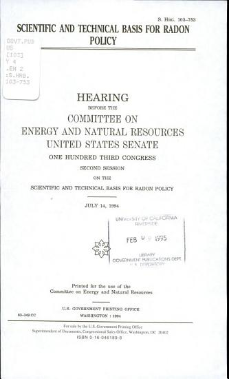Scientific and Technical Basis for Radon Policy PDF