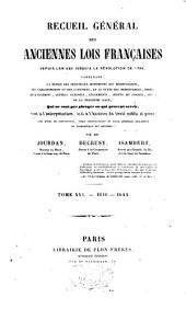 Recueil général des anciennes lois françaises: depuis l'an 420 jusqu'à la Révolution de 1789, Volume16