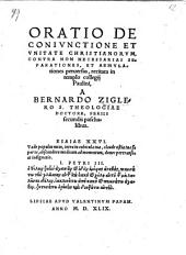 Oratio De Coniunctione Et Unitate Christianorum, Contra Non Necessarias Separationes, Et Aemulationes perversas