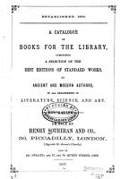 A Catalogue of Books for the Library PDF