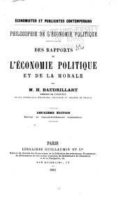 Des rapports de l'économie politique et de la morale