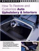 How to Restore and Customize Auto Upholstery   Interiors PDF