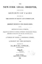 The New-York Legal Observer: Volume 4