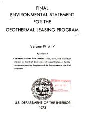 Final Environmental Statement for the Geothermal Leasing Program: Comments on draft impact statement and proposed regulations