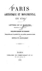 Paris, artistique et monumental en 1750: lettres