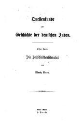 Quellenkunde zur Geschichte der deutschen Juden: Band 1